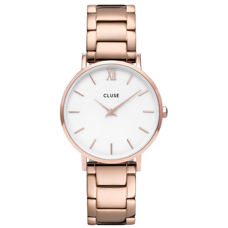 Cluse CW0101203027 Minuit 3-Link Rose Gold White/Rose Gold Watch