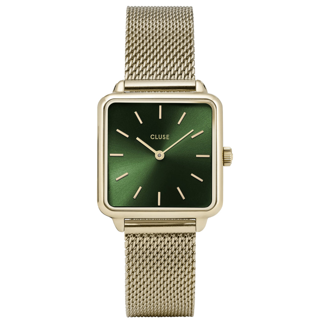 Cluse CW0101207013 La Tétragone Mesh Green Gold Colour Watch