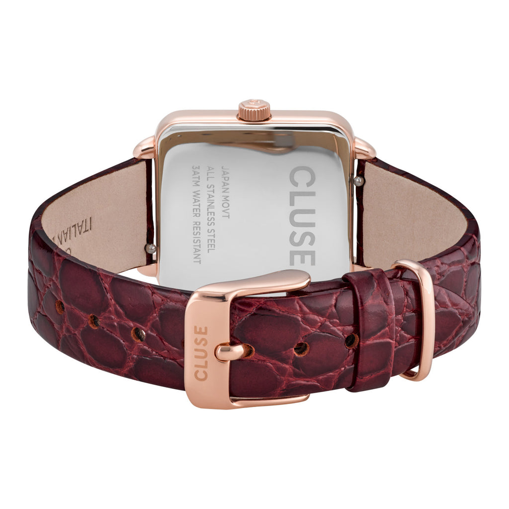Cluse CW0101207029 La Tétragone Leather Red Alligator Rose Gold Colour Watch