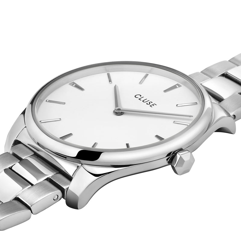 Cluse CW0101212003 Féroce 3-Link Silver White/Silver Watch