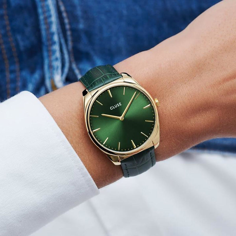Cluse CW0101212006 Féroce Leather Gold Forest Green/Forest Green Croco Watch