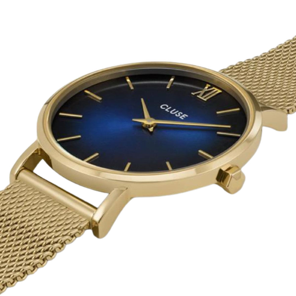 Cluse CW10202 Minuit Mesh Gold Deep Blue Fume/Gold Watch