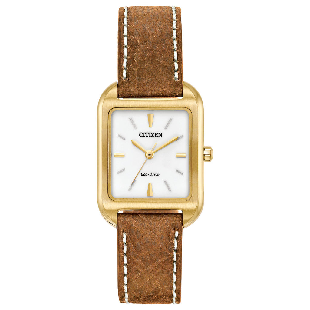 Citizen EM0492-02A Ladies Brown Leather Strap Buckle Watch