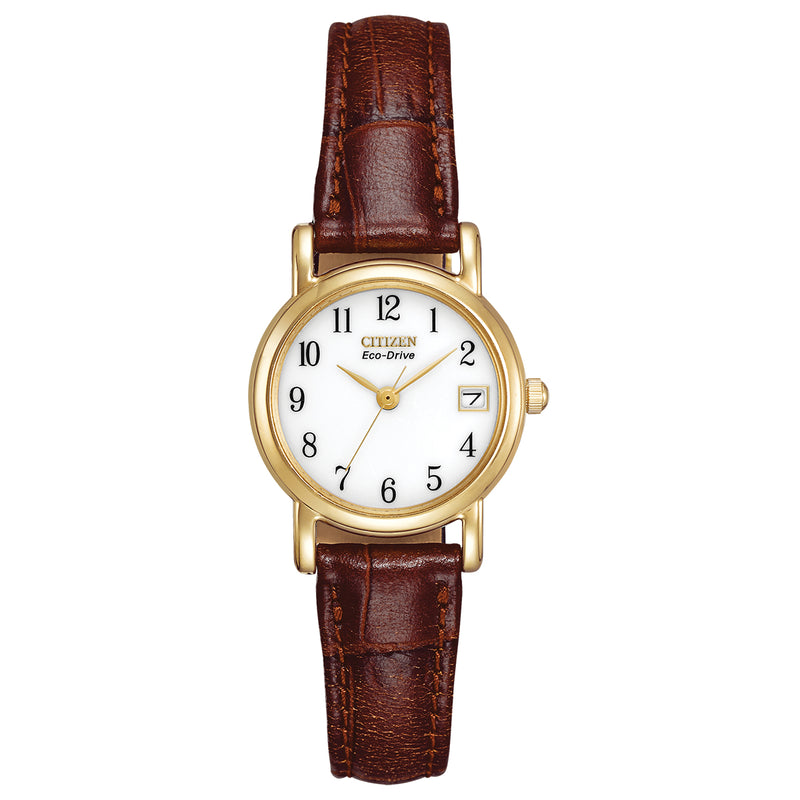 Citizen EW1272-01A Ladies' Strap Brown Leather Strap Buckle Watch