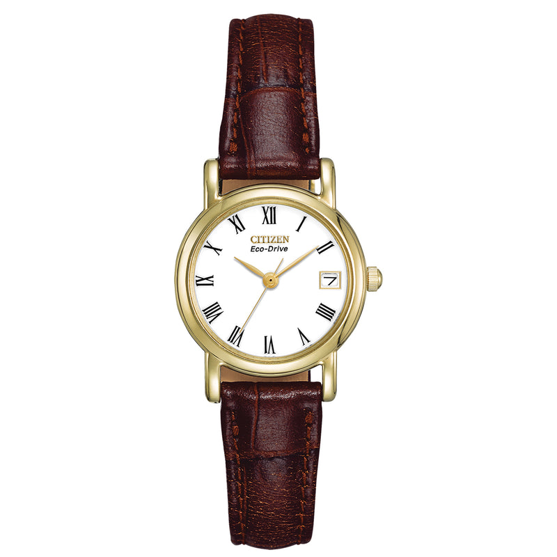 Citizen EW1272-01B Ladies' Strap Brown Leather Buckle Watch