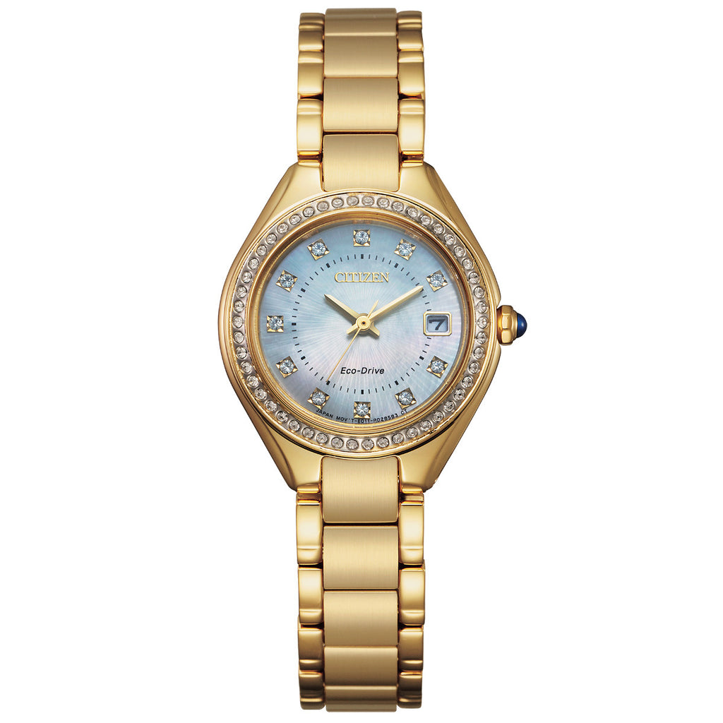 Citizen EW2556-50D Silhouette Crystal Gold Tone Stainless Steel Bracelet Watch