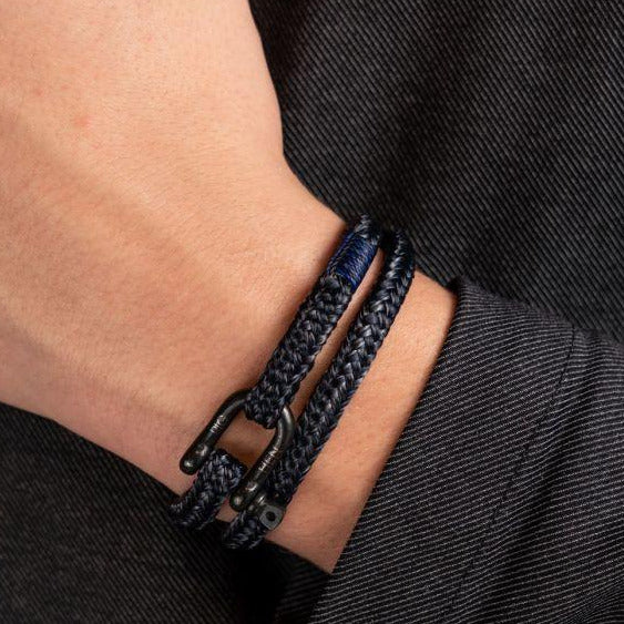 Pig and Hen Salty Steve Navy Blue Slate Gray/Black Men's Bracelet