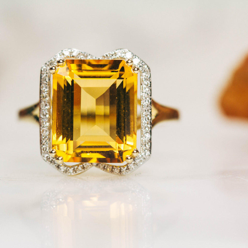 9 carat citrine and diamond ring