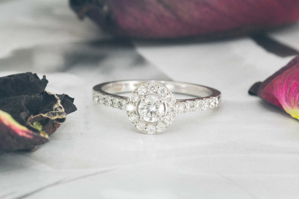 Louise  round halo diamond engagement ring