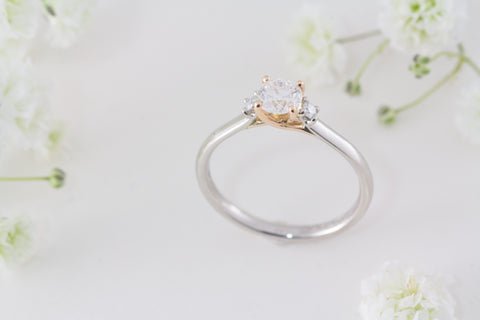 Deborah platinum and rose gold diamond engagement ring