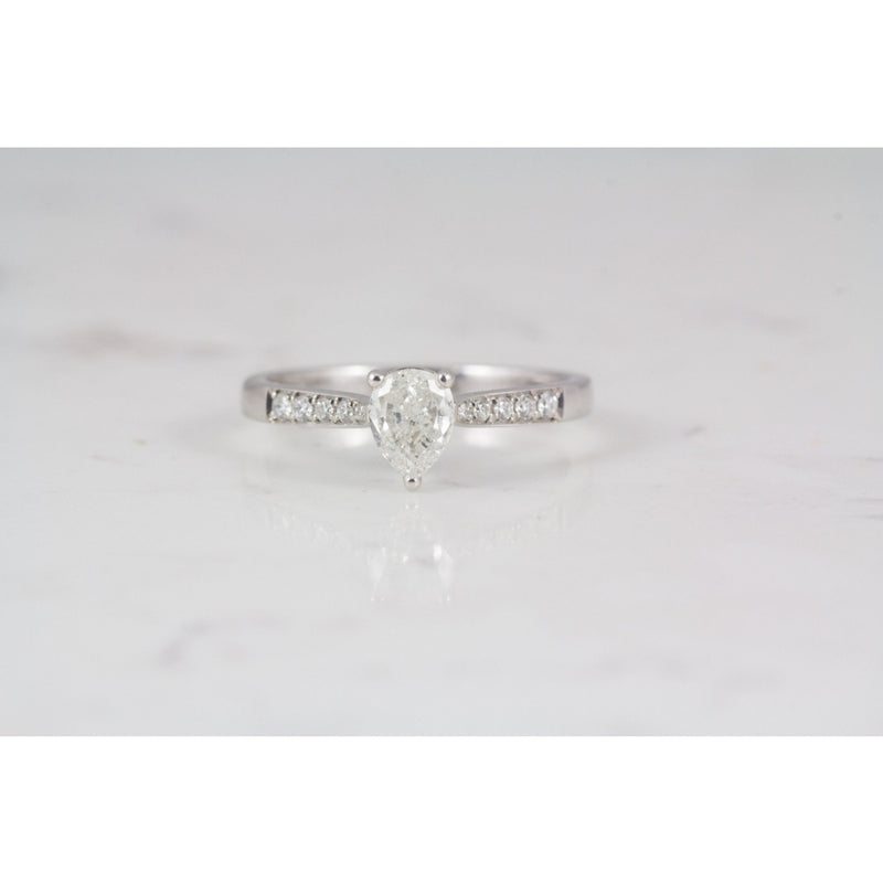 Talia 18ct Pear shaped pave set Engagement ring