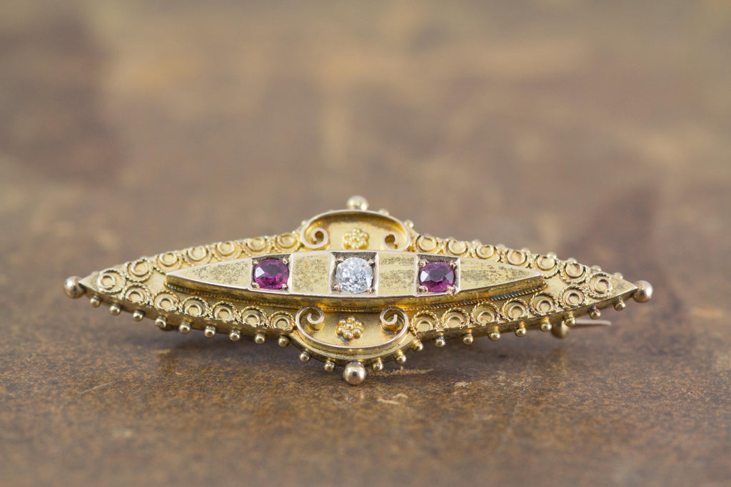 Antique diamond and ruby brooch
