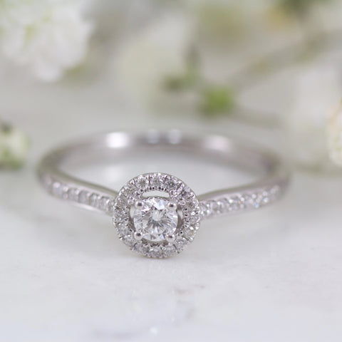 Camille 18ct white gold halo style engagement ring