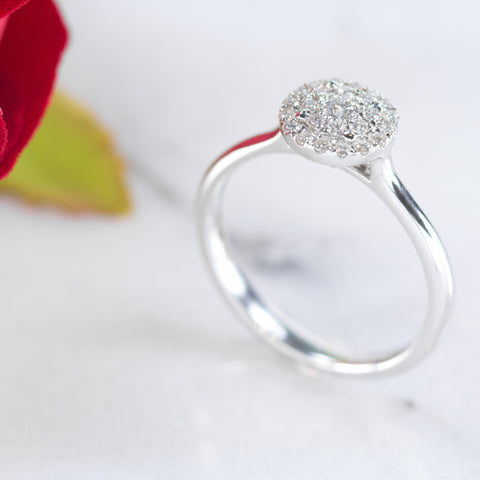 Astra 18ct white gold pave set engagement ring
