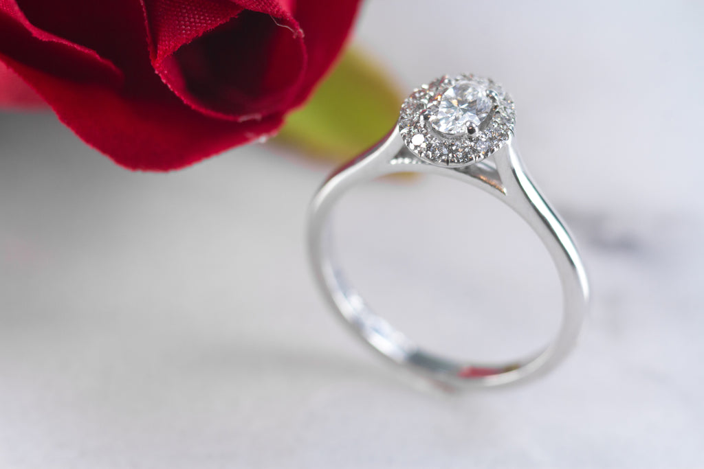 Ingrid 18ct oval diamond halo engagement
