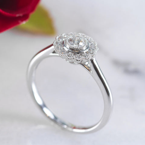 Dorothy 18ct white gold floral style engagement ring