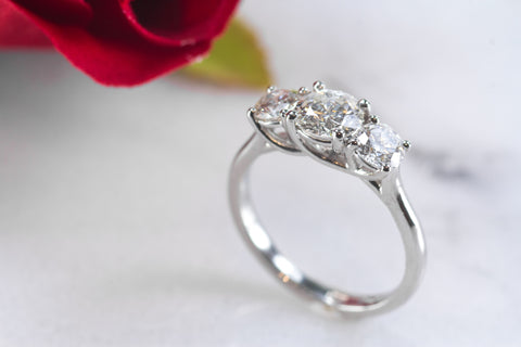 Rebecca 3 Stone platinum engagement ring.