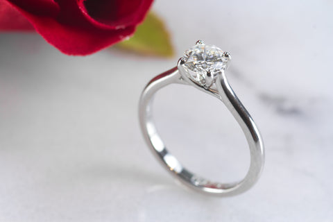 Victoria platinum solitaire engagement ring