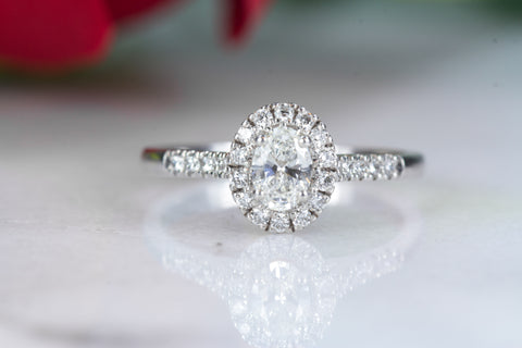 Mia 18ct white gold oval halo  engagement ring with diamond set shoulders