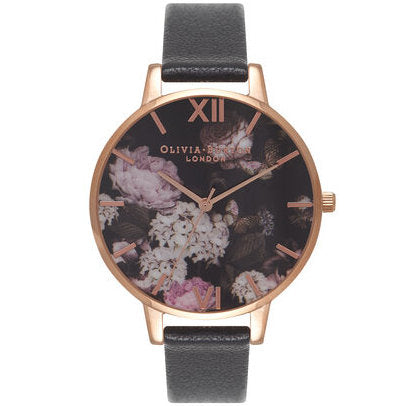 Olivia Burton OB15WG12 Signature Floral Black & Rose Gold Watch
