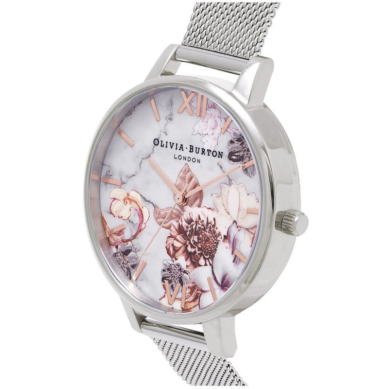 Olivia Burton OB16CS10 Marble Floral Rose Gold & Silver Mesh Watch