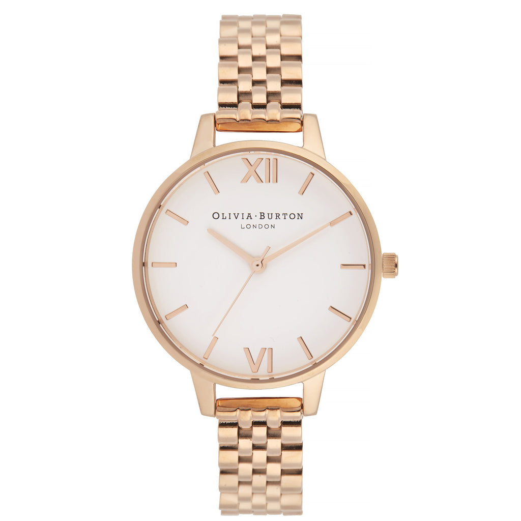 Olivia Burton OB16DEW01 White Dial Ion-Plated Rose Gold Bracelet Watch