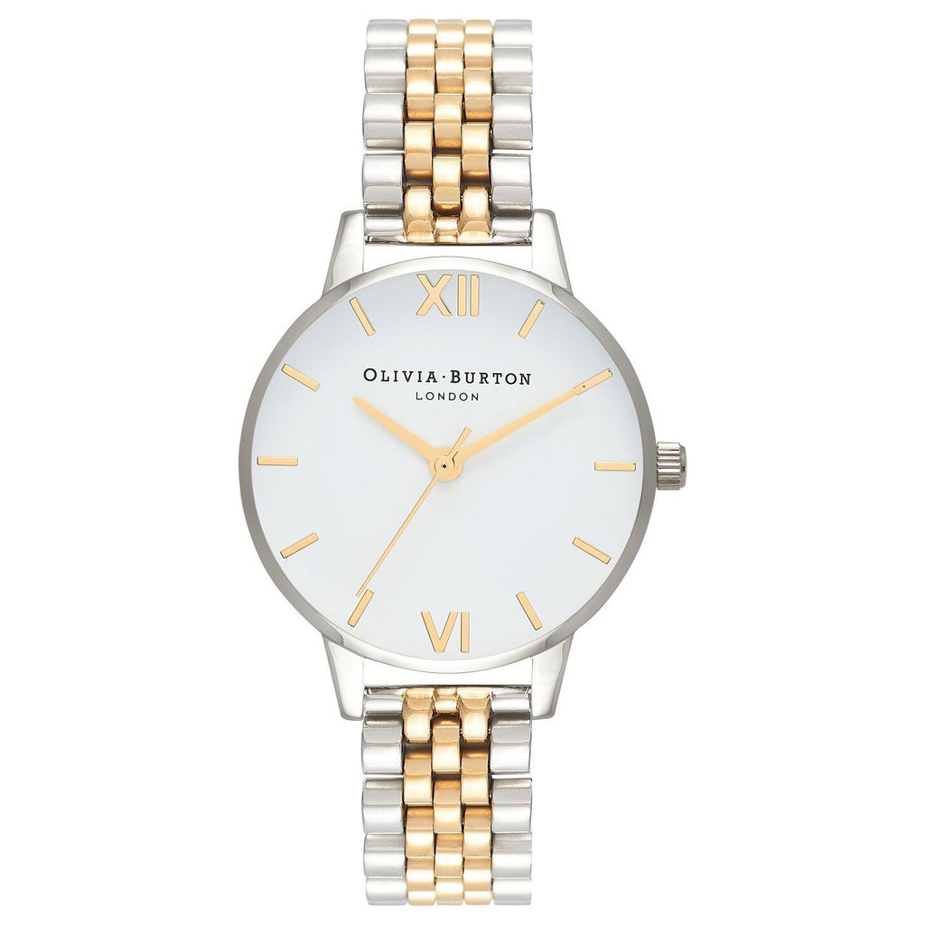 Olivia Burton OB16MDW34 White Dial Silver & Gold Stainless Steel Bracelet Watch