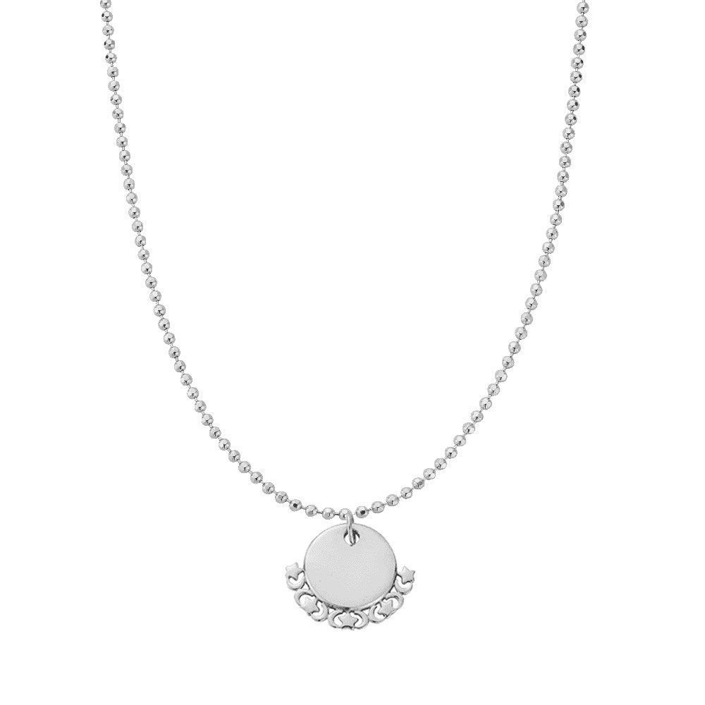 Chlobo Personalised Diamond Cut Adjuster Necklace Moon Charm
