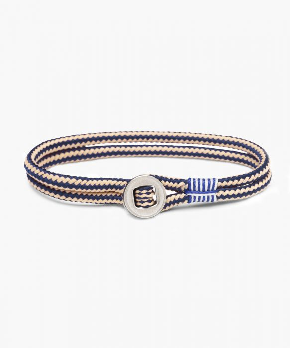 Pig and Hen Don Dino Navy Sand Silver Men's Bracelet