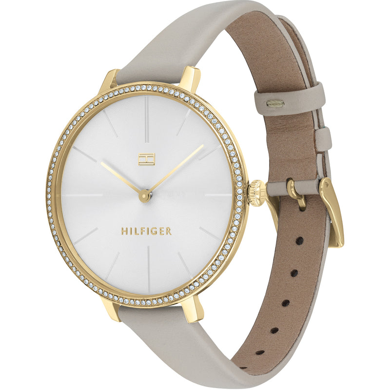 Tommy Hilfiger 1782110 Kelly Crystal Women's White Dial Grey Leather Strap Watch