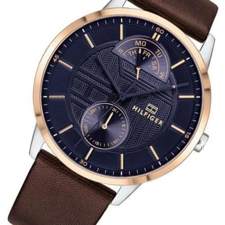 Tommy Hilfiger 1791605 Hunter Multi-Function Casual Quartz Leather Watch - Blue/Brown