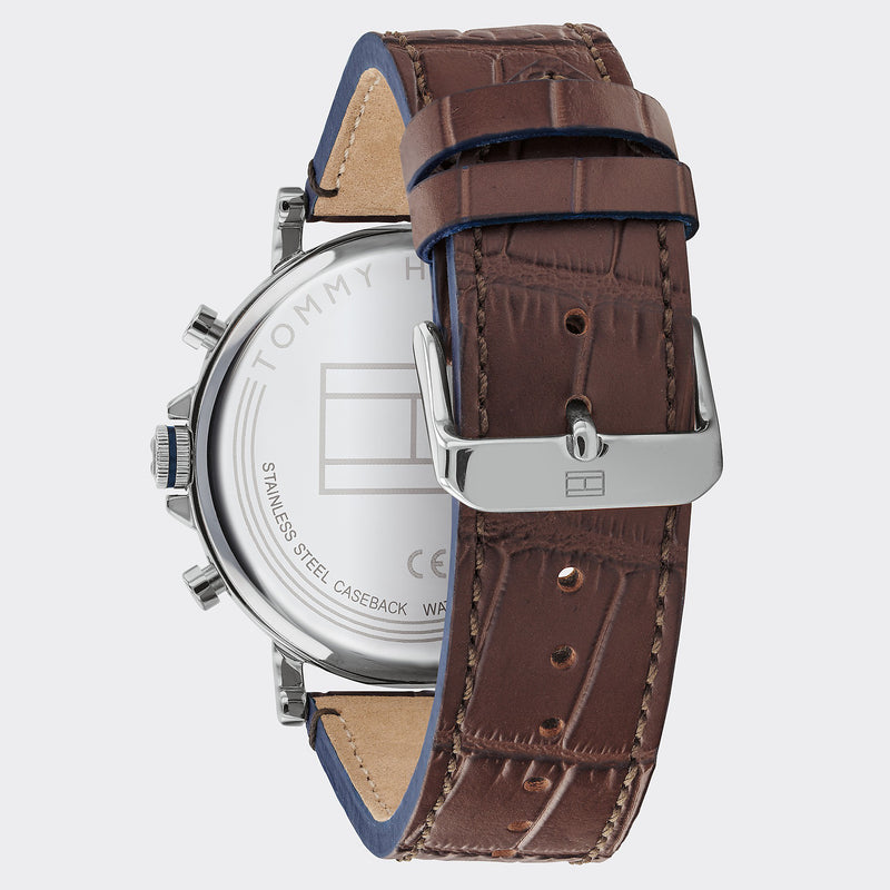 Tommy Hilfiger Dress Watch With Brown Leather Strap - Brown/Silver