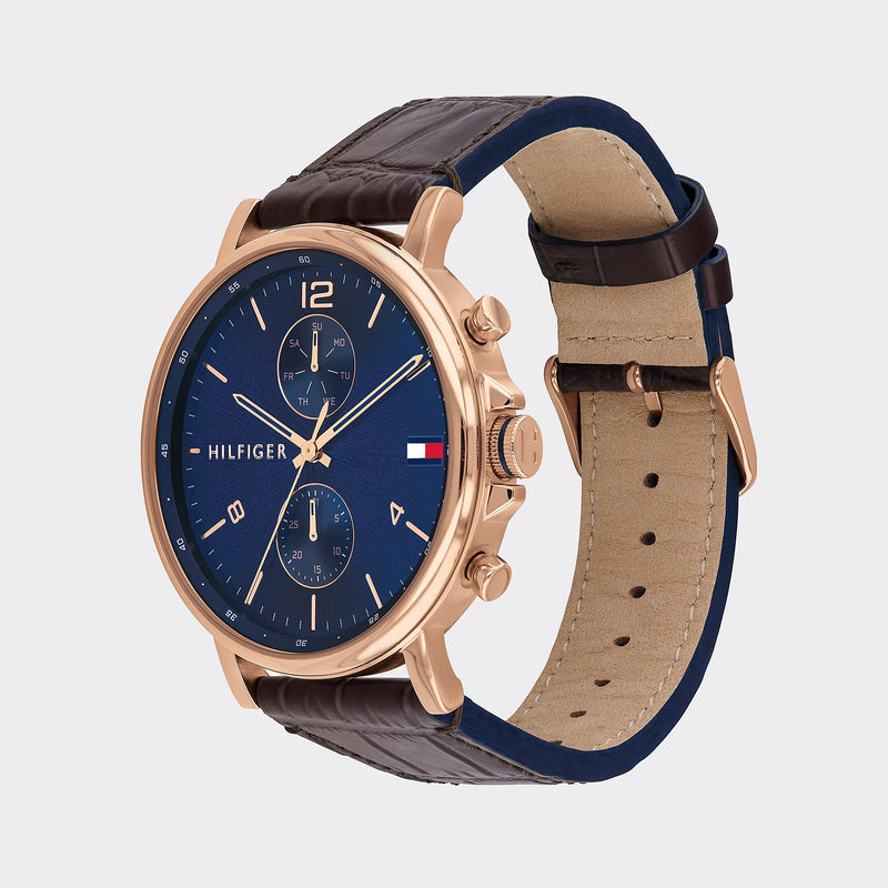 Tommy Hilfiger Dress Watch With Leather Strap - Brown/Gold/Navy