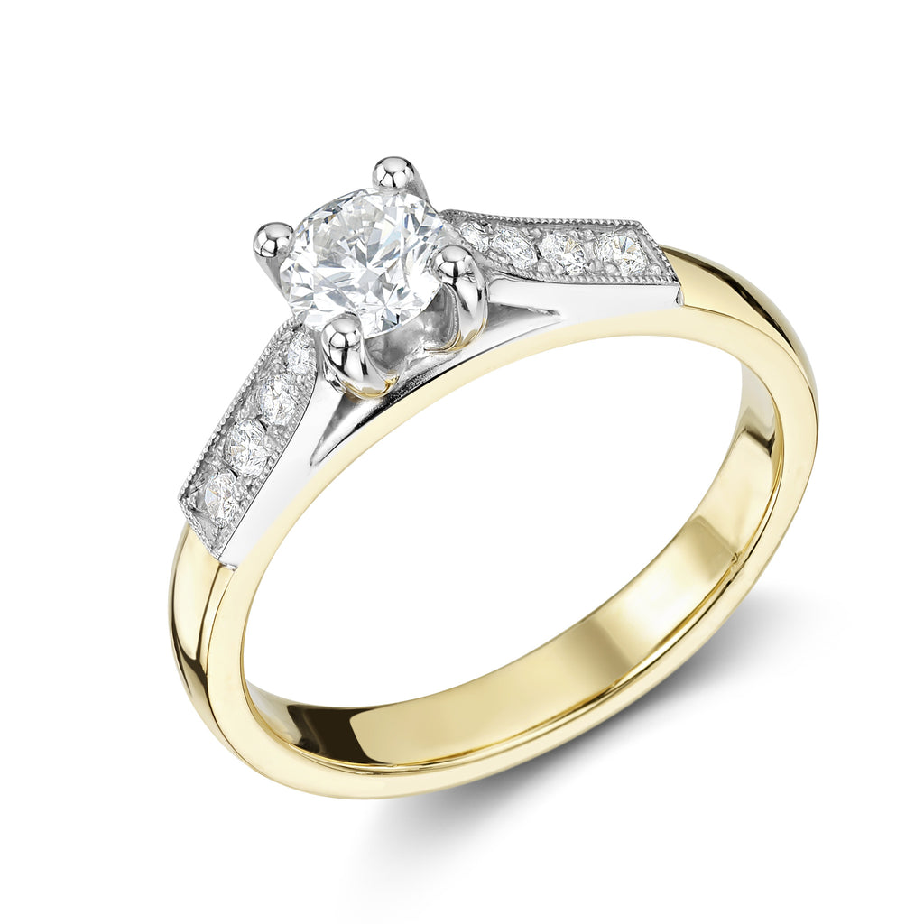 Evelyn engagement ring with yellow shank