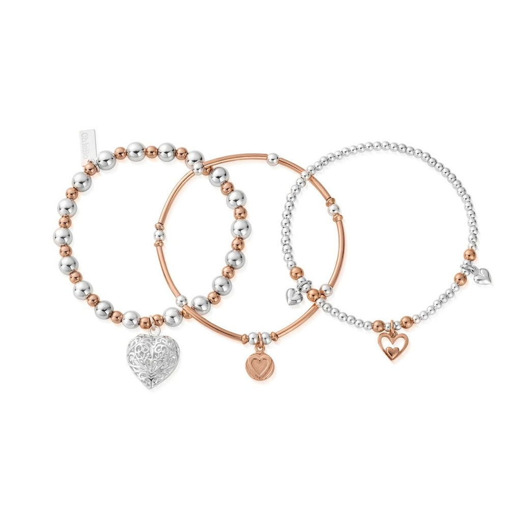 Chlobo Compassion  mixed metal Set Of 3