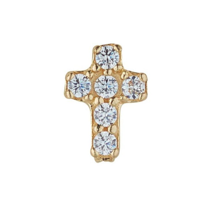 9ct Yellow Gold Cubic Cross Piercing