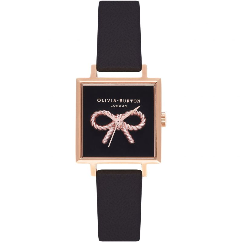 Olivia Burton OB16VB03 Vintage Bow Black & Rose Gold Watch