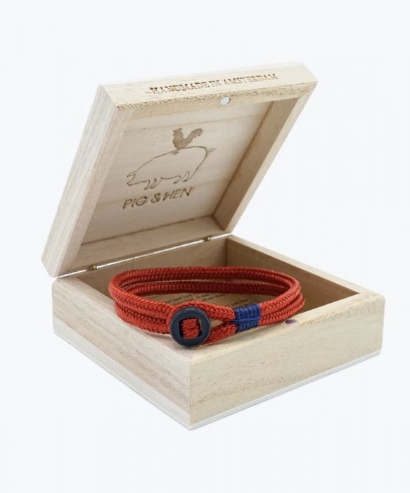 Copy of pig and Hen Don Dino Navy Coral Red Black Men's Bracelet