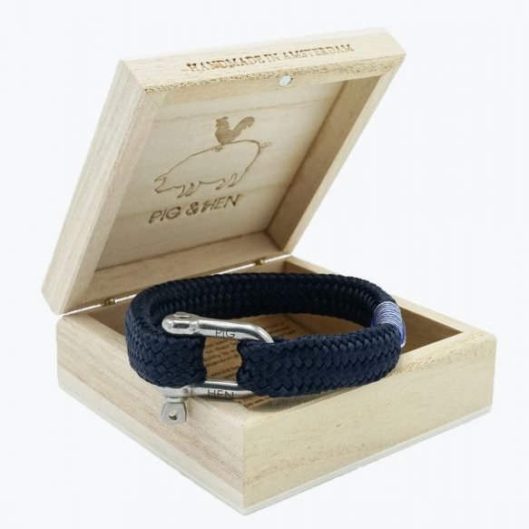Pig And Hen Gorgeous George Navy/Silver Men's Bracelet