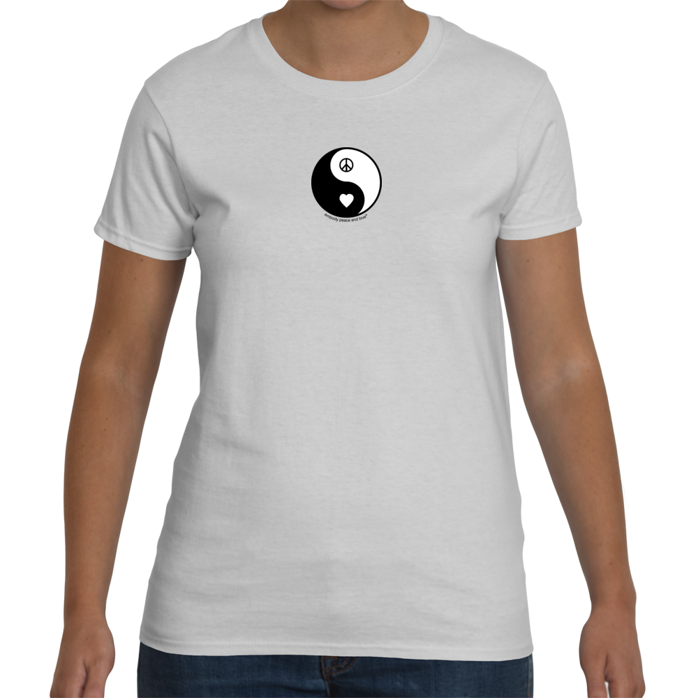 Women's Yin Yang Peace & Love T-shirt on Gildan (regular fitting style)