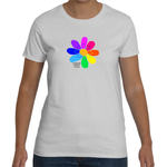 Women's Rainbow Flower T-shirt on Gildan (regular fitting style)