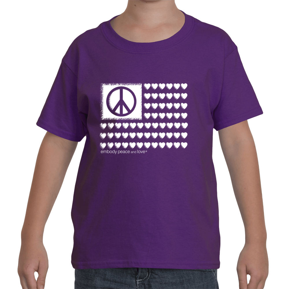 Youth Peace & Love Flag T-shirt