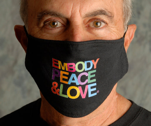 Face Mask ~ Embody Peace & Love multicolors on a black mask. Buy any 2 Face Masks get $2.08 Off at checkout!
