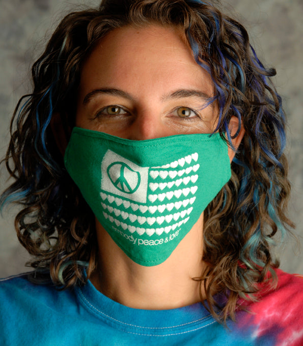 Face Mask ~ Peace & Love Flag on colored masks. Buy any 2 Face Masks get $2.08 Off at checkout!
