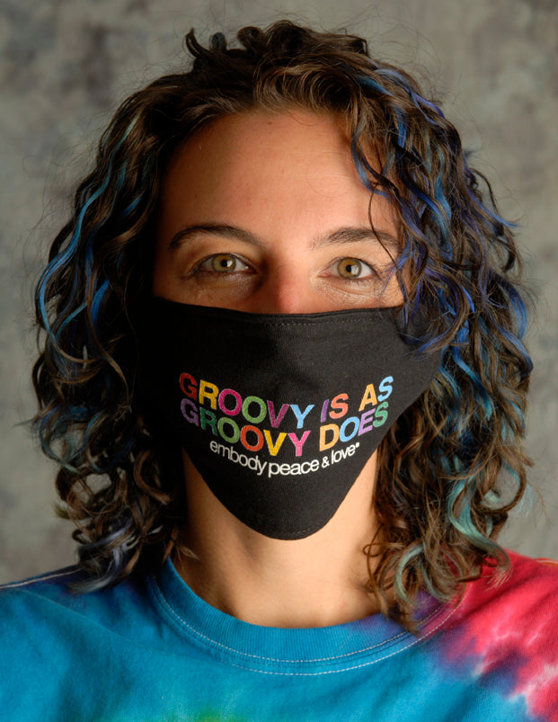 Face Mask ~ Groovy is as Groovy does on a black mask. Buy any 2 Face Masks get $2.08 Off at checkout!
