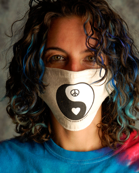 Face Mask ~ Yin Yang Peace & Love on a natural color mask. Buy any 2 Face Masks get $2.08 Off at checkout!