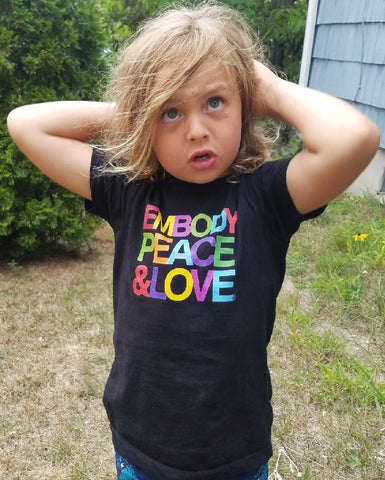 Toddler Embody Peace and Love® Unisex T-shirt,  Organic Cotton, Made in the USA
