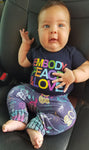 Infants Embody Peace and Love Unisex One Piece,  Organic Cotton, Made in the USA