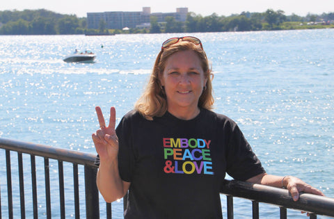 Women's Embody Peace and Love® T-shirt on Gildan (regular fitting style)