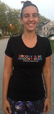Women's Groovy is as Groovy does T-shirt on Royal Apparel (regular fitting style)